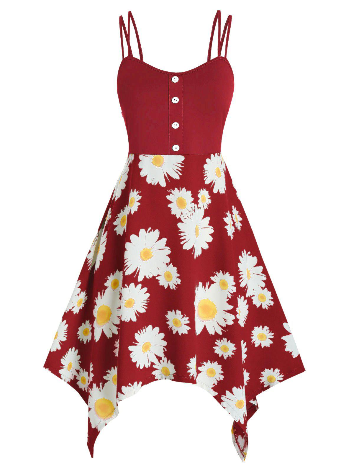 Shop Plus Size Daisy Flower Hanky Hem Dual Strap Dress