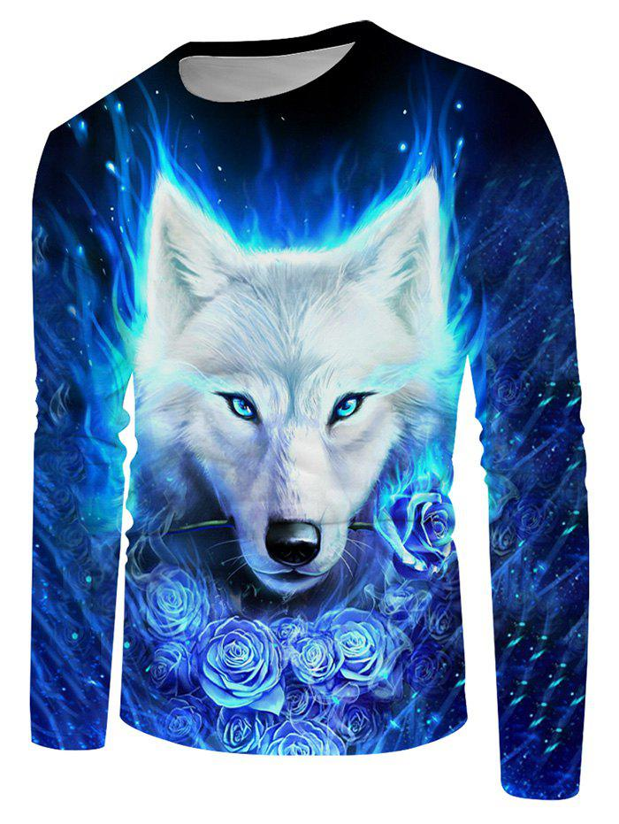 Floral Fire Wolf Graphic Crew Neck Long Sleeve T Shirt фото