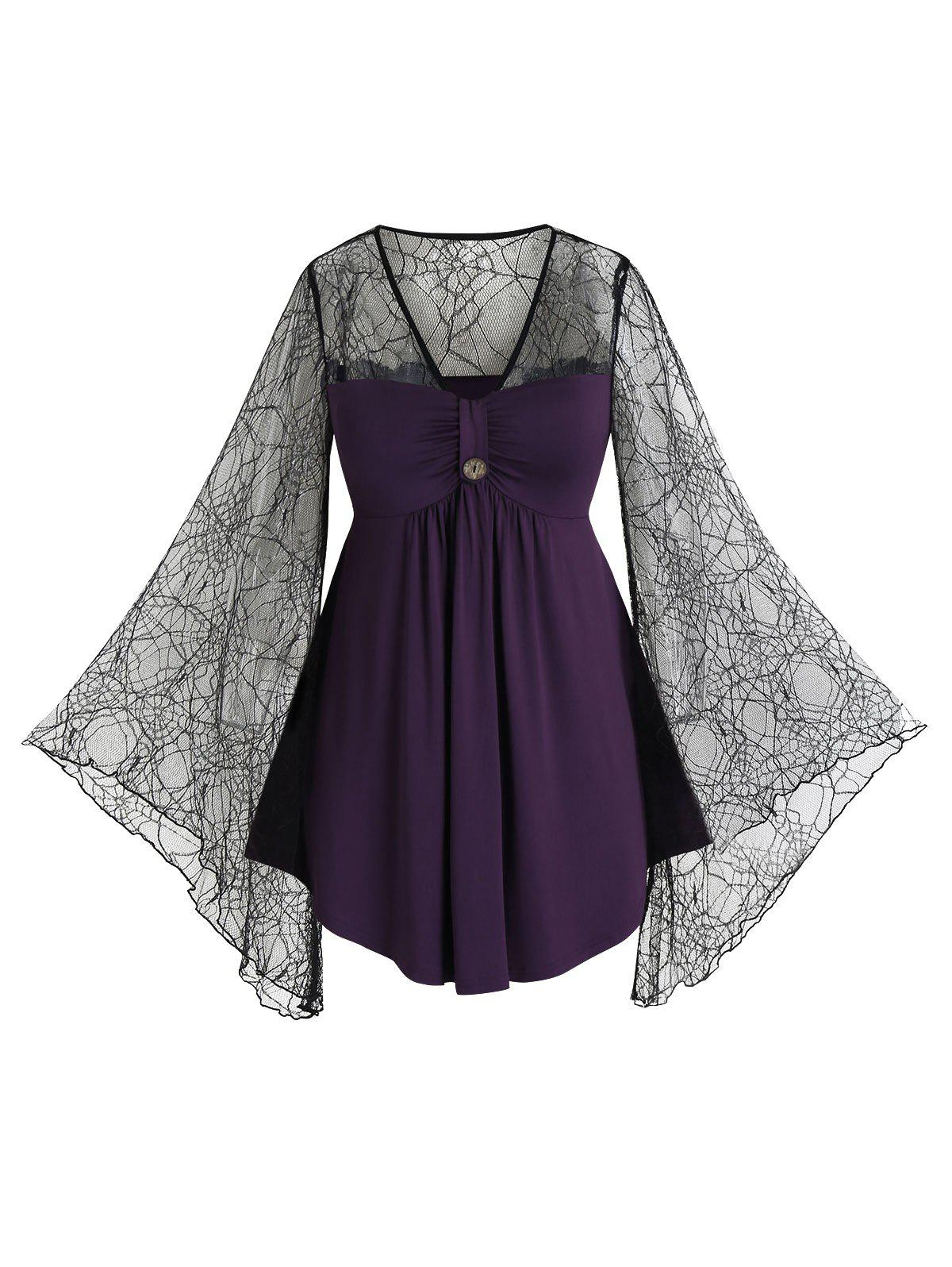 Plus Size Lace Spider Web See Thru Flare Sleeve Tee фото