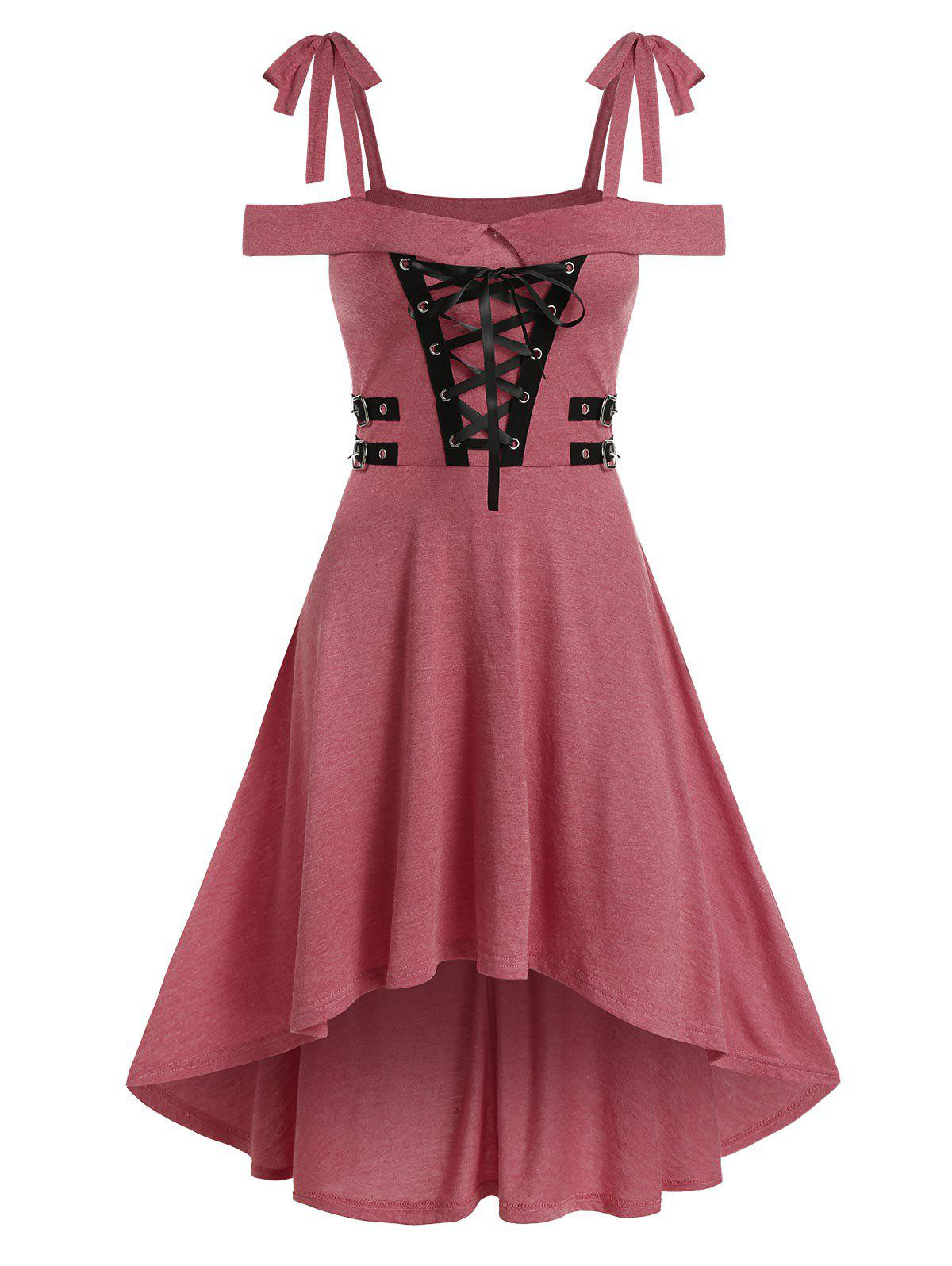 Store Cold Shoulder Lace-up High Low Gothic Dress