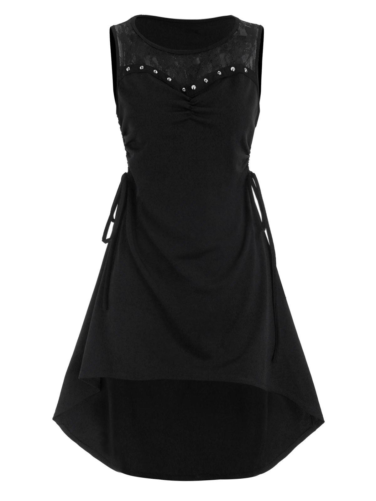 Outfits Lace Panel Side Cinched Ruched Rivet High Low Dress