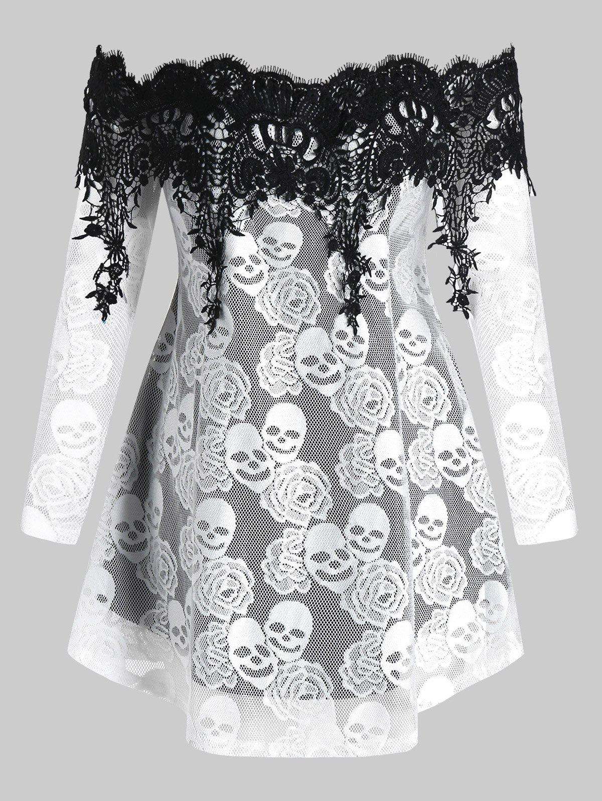 Shops Plus Size Halloween Off Shoulder Skull Lace Tee