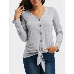 Button Up Knotted Hem Roll Tab Sleeve T Shirt, Light gray