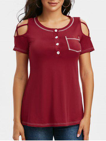 Cold Shoulder Criss-cross Stitching T-shirt