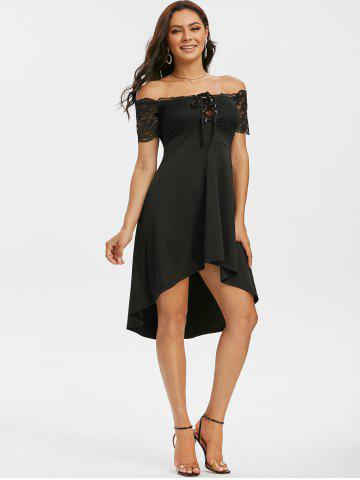 Off The Shoulder Lace Insert Lace-up High Low Dress