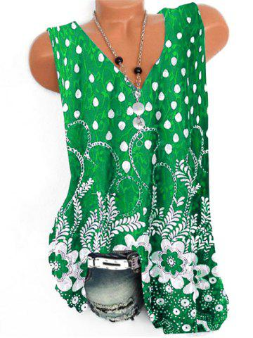 Plus Size V Neck Full Print Tank Top