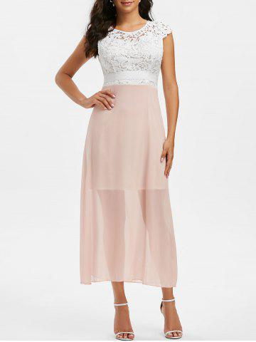 Lace Crochet Backless Chiffon Party Dress