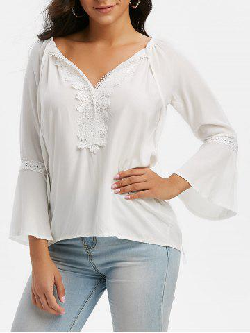Tie Collar Lace Panel Flare Sleeve Blouse - WHITE - 2XL