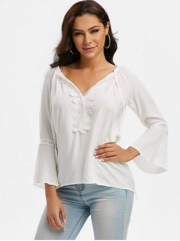 Tie Collar Lace Panel Flare Sleeve Blouse