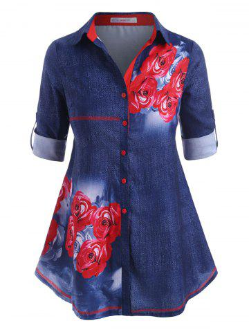 Rose Button Up Tab Sleeve Plus Size Shirt - BLUE - 4X