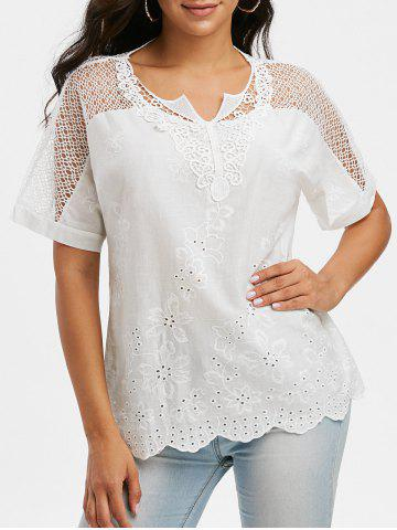 Notched Collar Crochet Lace Panel Short Sleeve Blouse - WHITE - 3XL