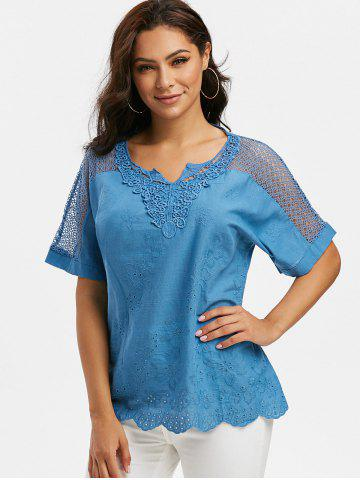Notched Collar Crochet Lace Panel Short Sleeve Blouse