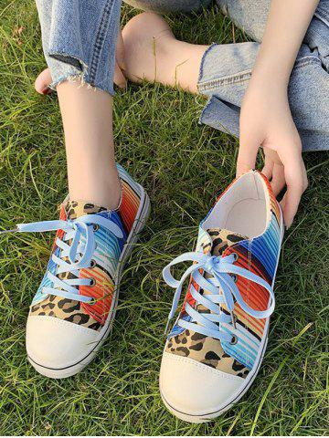 Leopard Colorful Striped Canvas Flat Shoes - LEOPARD - EU 38