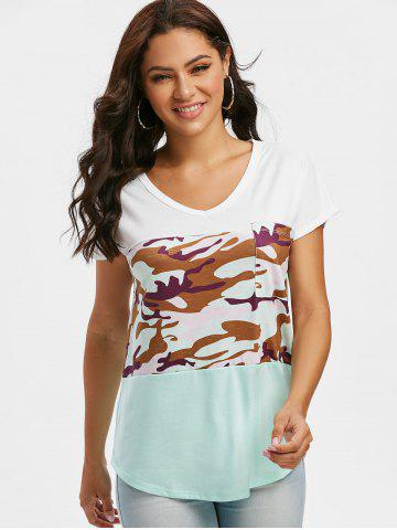 Batwing Sleeve Camo V Neck T-shirt