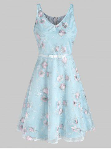 Lace Flower Embroidered A Line Dress