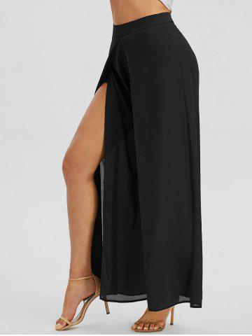 Overlap Front High Waisted Palazzo Pants