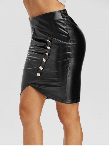 Mock Button Pleated Asymmetrical Faux Leather Skirt
