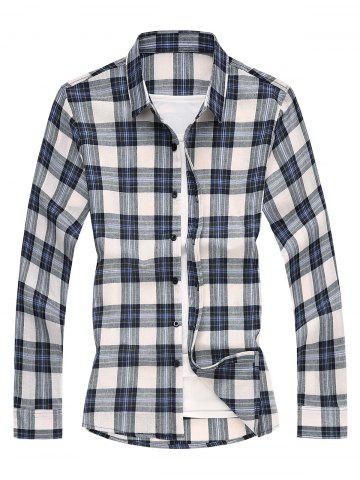 Long Sleeves Shirt with Plaid - BLUE - XS