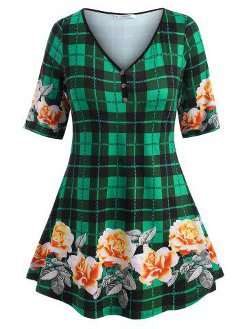 Mock Buttons Floral Plaid Plus Size Top - GREEN - 3X