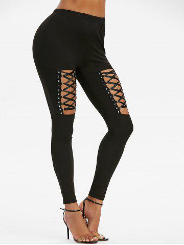 High Waisted Rivet Detail Lace-up Gothic Leggings - BLACK - M