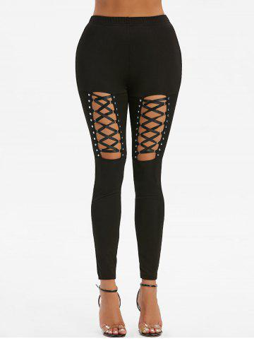 High Waisted Rivet Detail Lace-up Gothic Leggings