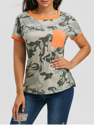 Contrast Trim Camo Pocket T-shirt - LIGHT GREEN - M