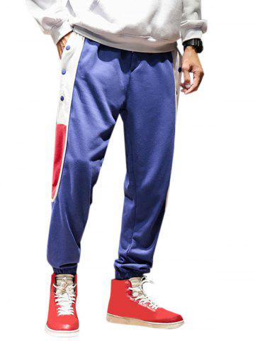 Colorblock Button Casual Beam Feet Pants - BLUE - S