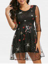 Unicorn Star Embroidered Sequin Panel Mesh Dress -