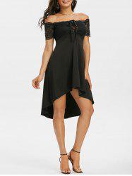 Off The Shoulder Lace Insert Lace-up High Low Dress -