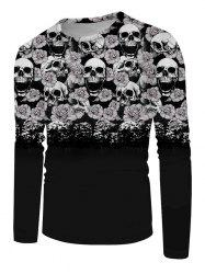 Halloween Flowers Skull Print Long Sleeve T-shirt -
