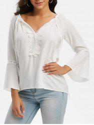 Tie Collar Lace Panel Flare Sleeve Blouse -