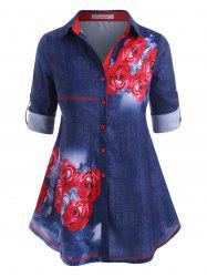 Rose Button Up Tab Sleeve Plus Size Shirt -