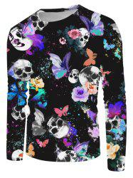 Halloween Skull Butterfly Print Long Sleeve T-shirt -