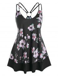 Plus Size O Ring Floral Print Strappy Tank Top -