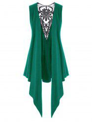 Mesh Panel Open Front Embroidered Plus Size Top -
