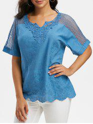 Notched Collar Crochet Lace Panel Short Sleeve Blouse -