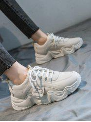 Letter Applique PU Leather Dad Sneakers -