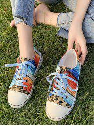 Leopard Colorful Striped Canvas Flat Shoes -