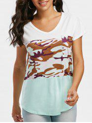 Batwing Sleeve Camo V Neck T-shirt -