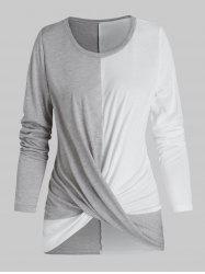 Twist Front Long Sleeve Contrast T-shirt -