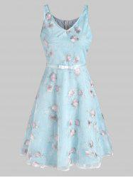 Lace Flower Embroidered A Line Dress -