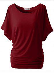 Plus Size Split Sleeve Ruched Tunic Top -