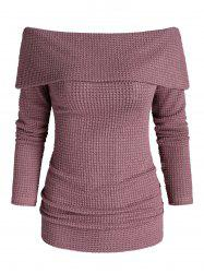 Off Shoulder Foldover Knitted Sweater -