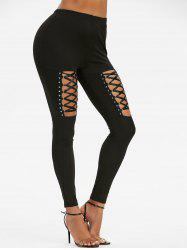 High Waisted Rivet Detail Lace-up Gothic Leggings -