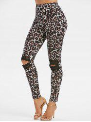 Knee Ripped Lace Panel Leopard Leggings -