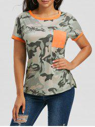Contrast Trim Camo Pocket T-shirt -