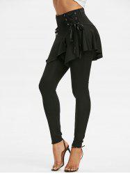 Lace Up Elastic Waist Asymmetrical Skirted Leggings -