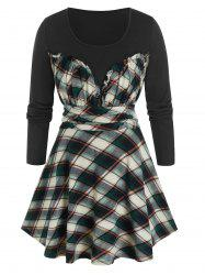 Plus Size Frilled Plaid Ruched Skirted Tunic Tee -