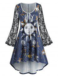 Plus Size Lace Bell Sleeve Sun Print High Low Dress -