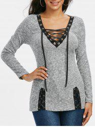 Lace-up Plunge Neck Ribbed Sweater -